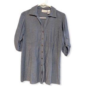 Blue chambray tunic button front shirt medium